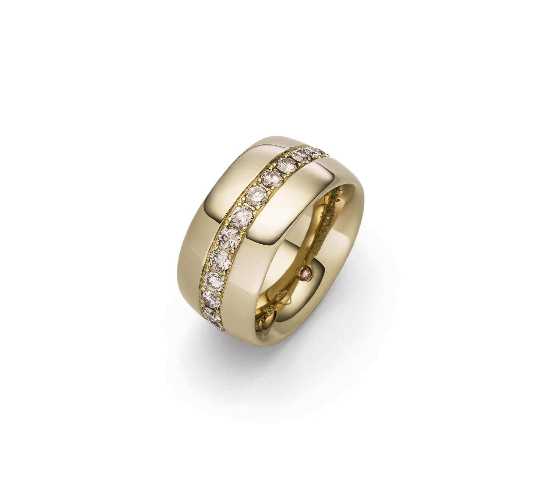 Ring Gold Navette 11 naturbraune Brillanten Gelbgold