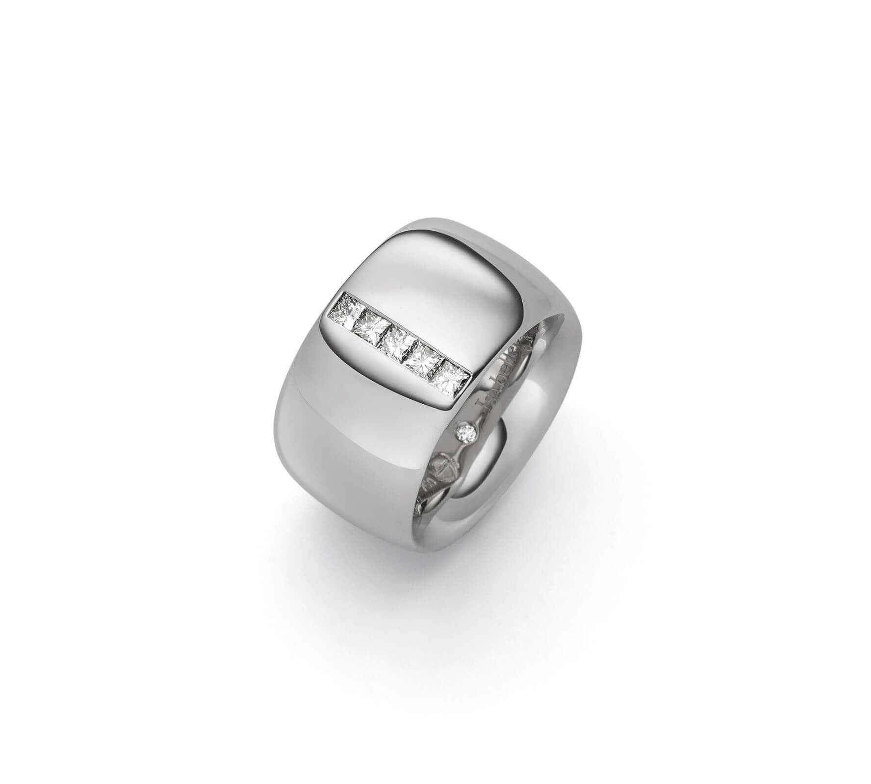 Ring Gold Navette 14 Princess Cut Diamanten Weißgold